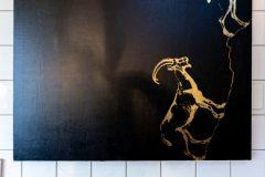 Steinbock-Schwarz-Gold-Kunstbild-1
